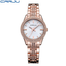 Top Brand CRRJU Women Fashion Crystal Quartz watch Japanese movements Luxury Diamond Dress Ladies Watch Rose gold
