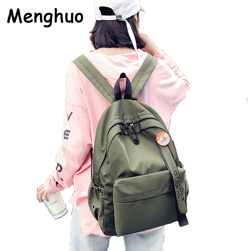Menghuo Badge Women Backpack Ribbons School Bags For Teenagers Girls Fashion Bags Classic University Student Backpacks Mochilas