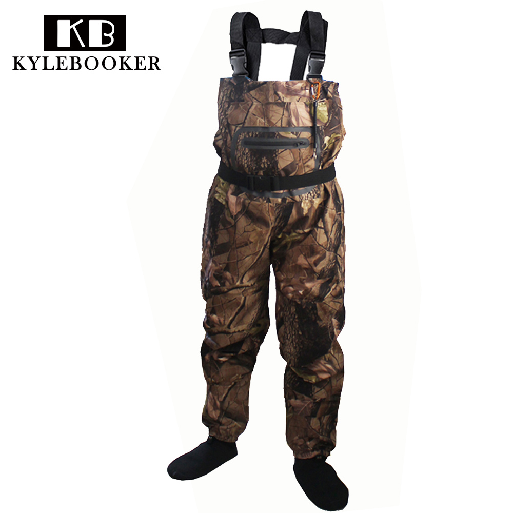 Outdoor Fly Fishing Stocking Foot waterproof and breathable chest waders with one buckle accidently rope kits