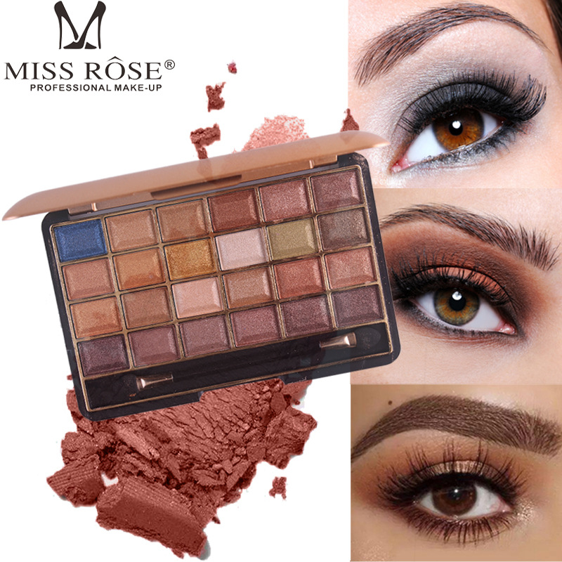 MISS ROSE brand 24 full colors Hot selling shimmer/matte profession eye shadow Easy to make makeup naturally beauty eyeshadow