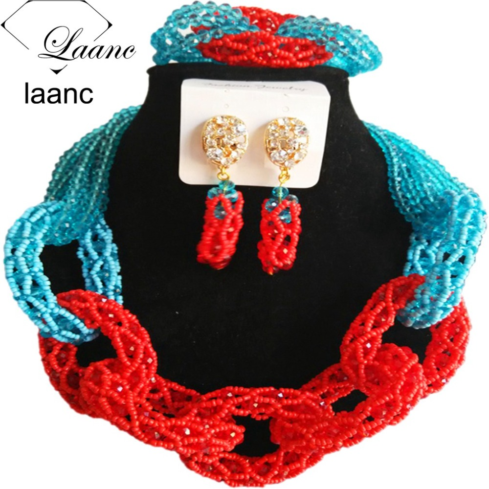 Laanc Indian Jewelry Nigerian Necklace African Beads Wedding Jewelry Set Crystal Lake Blue and Red AL390Laanc Indian Jewelry Nigerian Necklace African Beads Wedding Jewelry Set Crystal Lake Blue and Red AL390