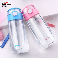 500ML Transparent Plastic Straw Cup Children S Feeding Cup Portable Kid Learn Drinking Sippy Cup With
