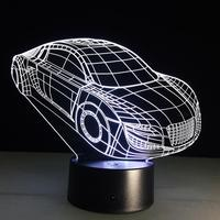 LED Night Light 3D Mini Car Table Lamp Night Light Touch Or Remote Control Switch Bedroom