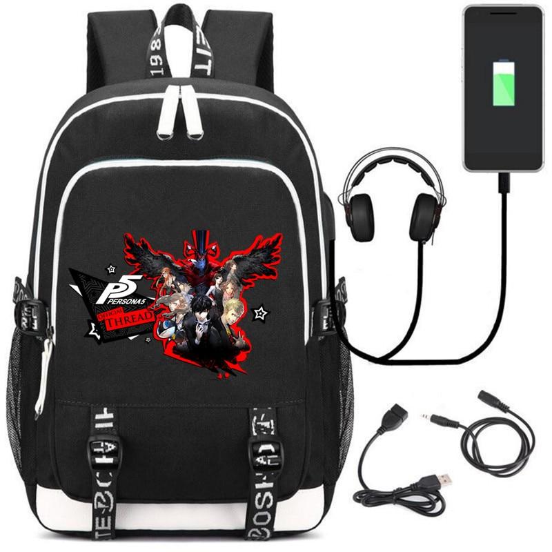 Shin Megami Tensei Persona 5 Teenagers USB charging laptop large Backpack Canvas School Bags Mochila Travel Bags shoulder bag