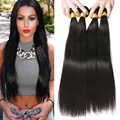 "7A Brazilian Virgin Hair Straight 4 Bundles Straight Brazilian Hair Weave Bundles 8""-28"" Brazilian Straight Human Hair Extension"