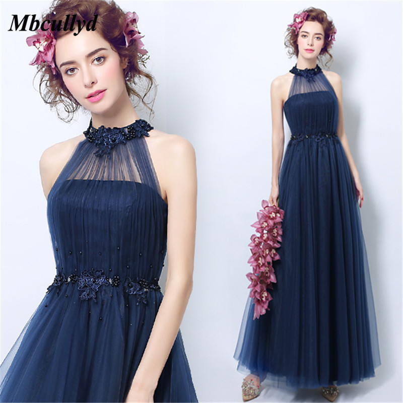 Mbcullyd Elegant Long   Bridesmaid     Dresses   A Line Halter Neck Cheap Plus Size 2018 Pearls Wedding Guest   Dress   Maid Of Honor Gowns