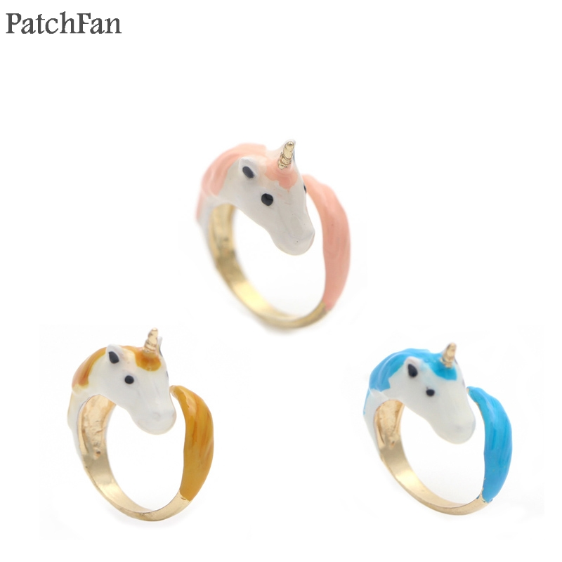 A0530 Patchfan horse Fashion Adjustable Ring Color Enamel Glaze Beautiful For Women Dropshipping Costume party favors Gifts