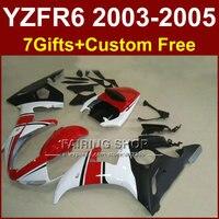 R6 Кузов для Yamaha комплект обтекателей 03 04 05 Обтекатели YZF R6 2003 2004 2005 Красный Белый Мотоцикл устанавливает T555