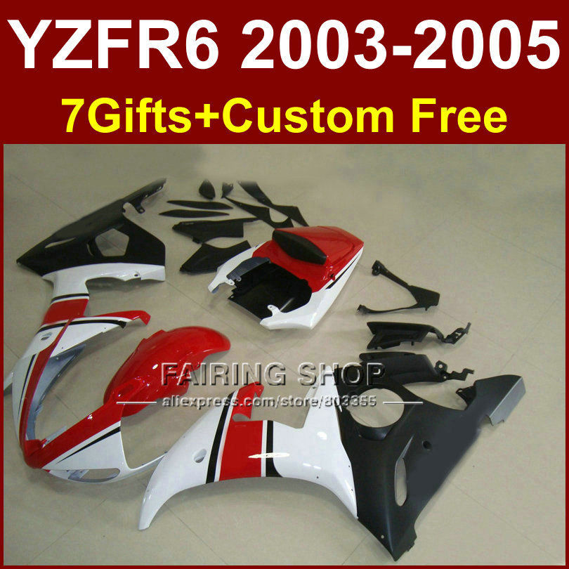 R6 bodywork for YAMAHA fairing kit 03 04 05 fairings YZF R6 2003 2004 2005 red white Motorcycle sets T555 hot sales yzf600 r6 08 14 set for yamaha r6 fairing kit 2008 2014 red and white bodywork fairings injection molding
