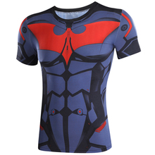 3D Printed T-shirts Batman Superman captain America 3 digital printing compressed t-shirts men Short sleeve Deadpool iron Man