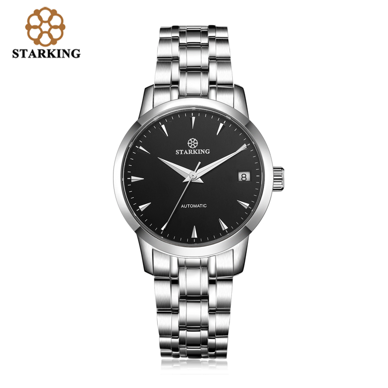 Image 2 - StarKing Classic Women Simple Watch Automatic Stainless Steel White Dial WristWatch Auto Date Ladies Mechanical Relogio Feminino-in Women's Watches from Watches