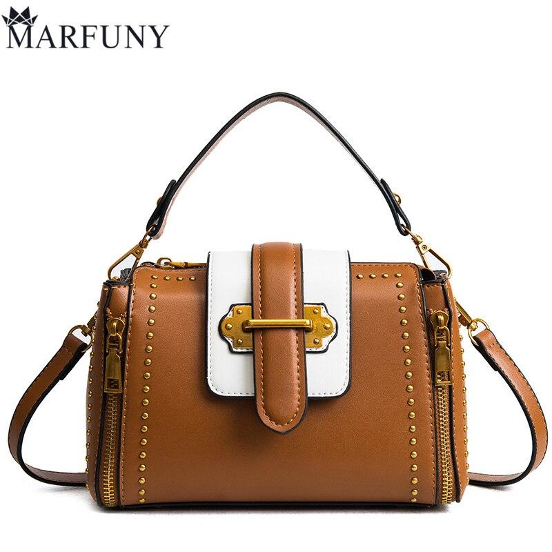 6451b3692cf7 MARFUNY Brand Panelled Handbag Women Crossbody Bags Female 2018 New Rivet Tote  Bag Fashion Pu Leather Messenger Bag Pillow Sac