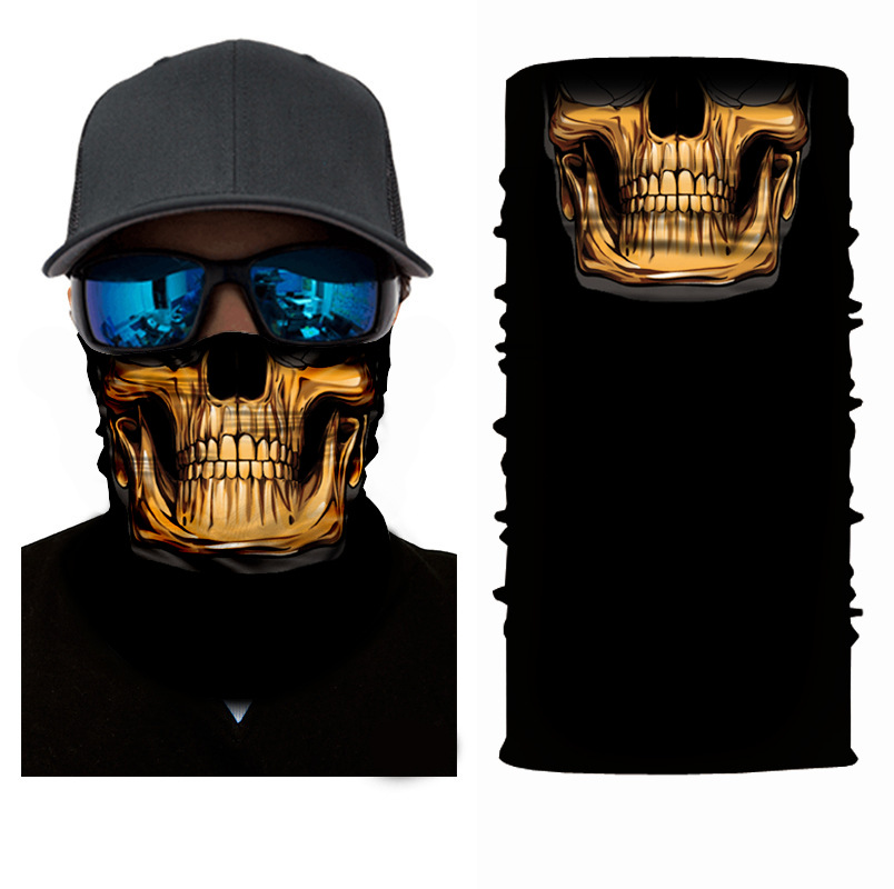Variety Seamless Magic Headband Golden Skull Skeleton Bandana Tube Neck Personalized Face Mask Scarf Bicycle Head Scarf Headwear