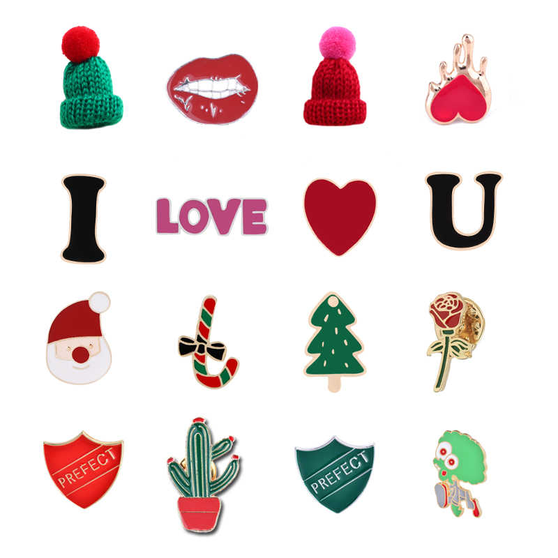 Christmas New Gift For Women Men Brooches Enamel Pins Christmas Tree Santa Claus Candy I Love You Perfect Woolen Hat Coat Badges