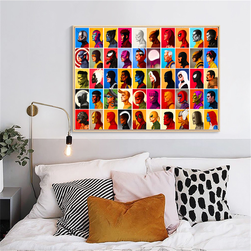 US $4.69 51% OFF|Superheroes Figures Marvel Wall Art Canvas Painting Poster  Prints Pictures For Bedroom Decoration Home Oil Paintings Decor-in ...