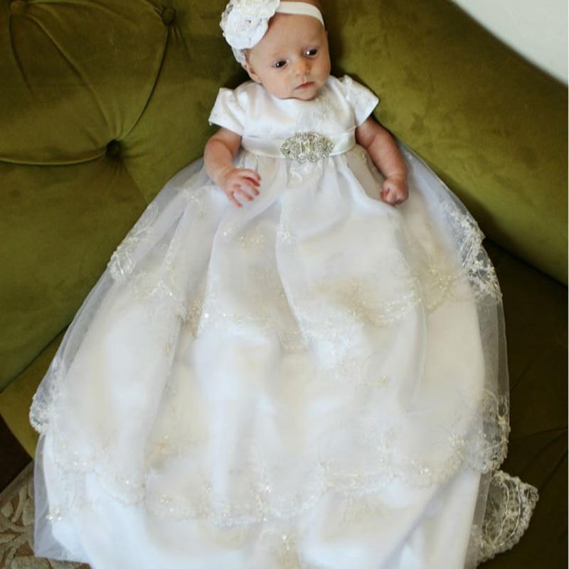 Sans bandeau bébé robes de baptême en longueur blanc dentelle motif cousu à la main ceintures bébé filles robe d'été style vestidos