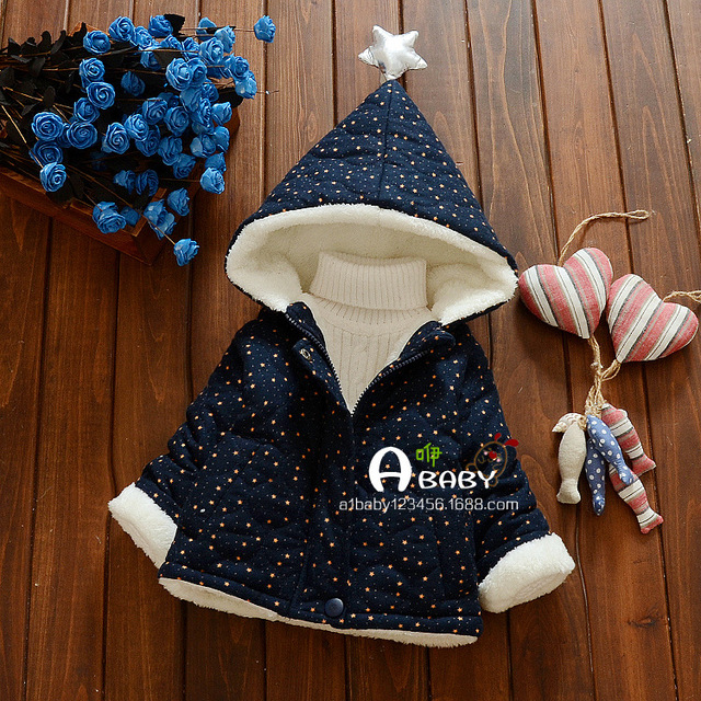 Anlencool New Girls Winter Coat Children Cute Polka Dot Hooded Down Jacket Kids Warm Outwear Baby Girls Fashion Cartoon Clothes