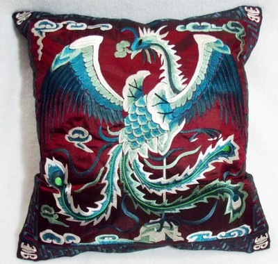 Вышивка Феникс декоративная Рождественская наволочка для подушки 43x43 см диван подушка на спинку стула винтажная китайская наволочка - Цвет: burgundy