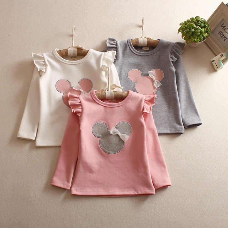 Girls'Long de T-shirt Inferior-camisa de Manga Comprida T-shirt das Crianças Outono 2019 Dos Desenhos Animados Bordado T-shirt