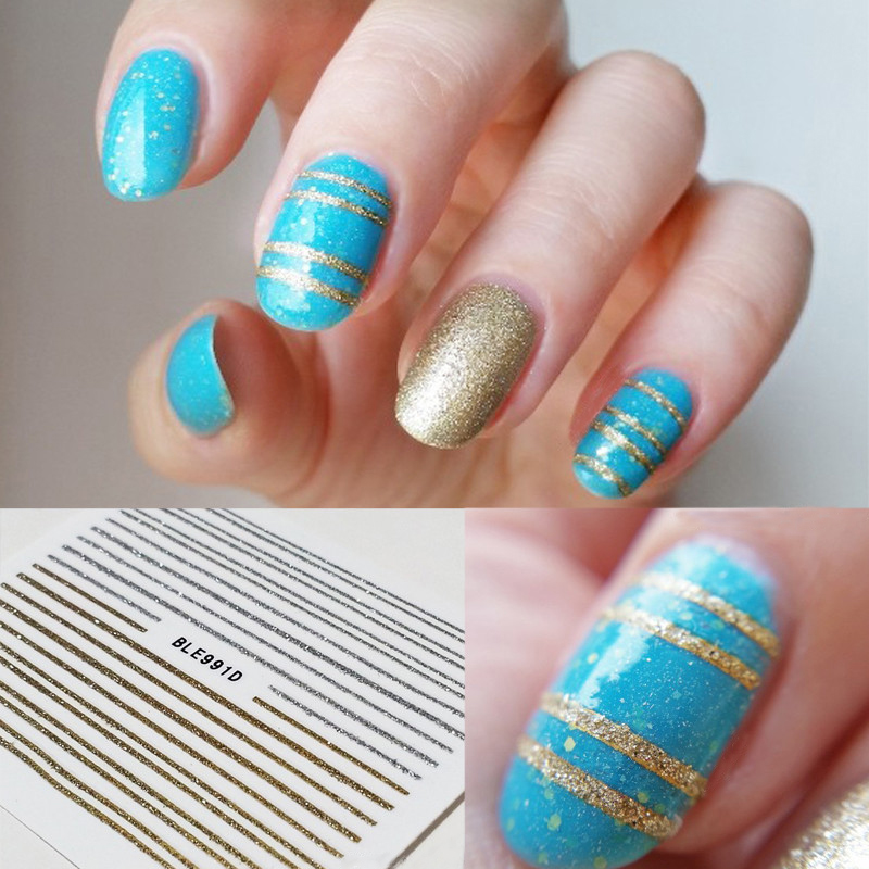 One Line Nail Art : Sheet gold silver lines stickers d nail art