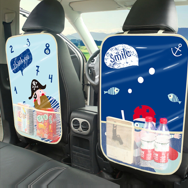 Cartoon Car Backseat Protector Cover Child Anti-Kick Pad Auto Organizer Seat Storage Bag Stowing Tidying Interior Accessories