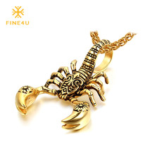 2018 New FINE4U N037 Scorpion Pendant Necklace 316L Stainless Steel Men Chain Necklace Fashion Men Jewelry(China)