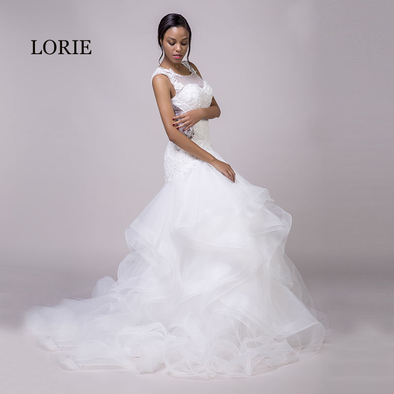 807689562d51 LORIE Mermaid Wedding Dresses Lace White O Neck Appliques Ruffles Organza  Lace Up Sexy Bride Dress Wedding Gown With Small Train-in Wedding Dresses  from ...