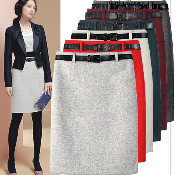 New Arrival Fashion Large Size Autumn Winter Package Hip Woolen Skirts OL Pencil Skirt