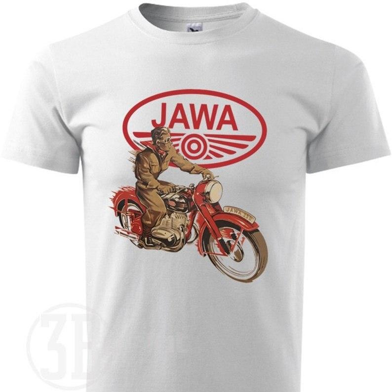 Image 2 - Мужская футболка в стиле ретро Jawa, хлопковая футболка с коротким рукавом и 3D принтом, 2019Футболки   -