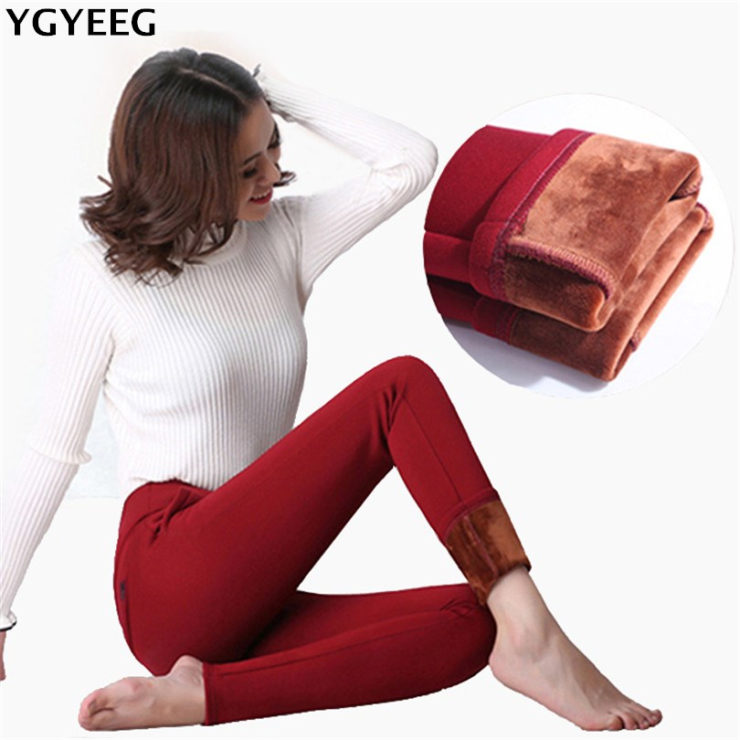 YGYEEG Winter Female Thick Velvet Leggings Pantalon Femme High Waist Leggins Warm Pantalones Mujer Thicken Stretch Skinny Hot