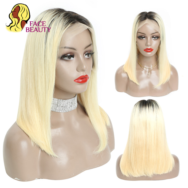 Facebeauty 1B 613 Ombre Blonde Brazilian Straight Bob Wigs Human Hair Remy 13x6 Pre Plucked Lace
