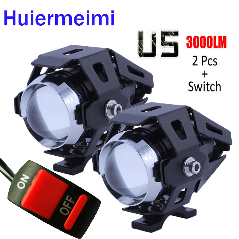 Huiermeimi 2pcs 125W motorcycle headlights led auxiliary lamp moto driving fog spot head light U5 motobike spotlight accessories