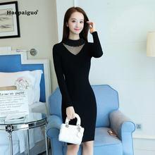 Однотонное Платье карандаш для женщин Осеннее черное платье