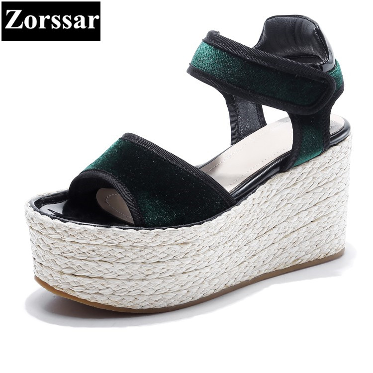{Zorssar} Brand 2017 NEW Summer high quality Casual Womens straw wedges Roma gladiator sandals high heels women platform shoes phyanic 2017 gladiator sandals gold silver shoes woman summer platform wedges glitters creepers casual women shoes phy3323