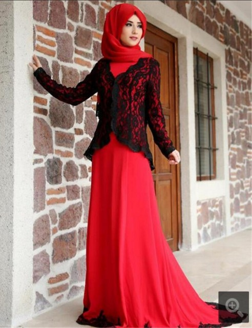 Vestido De Festa 2017 Muslim modest with jackets Evening Dresses ...
