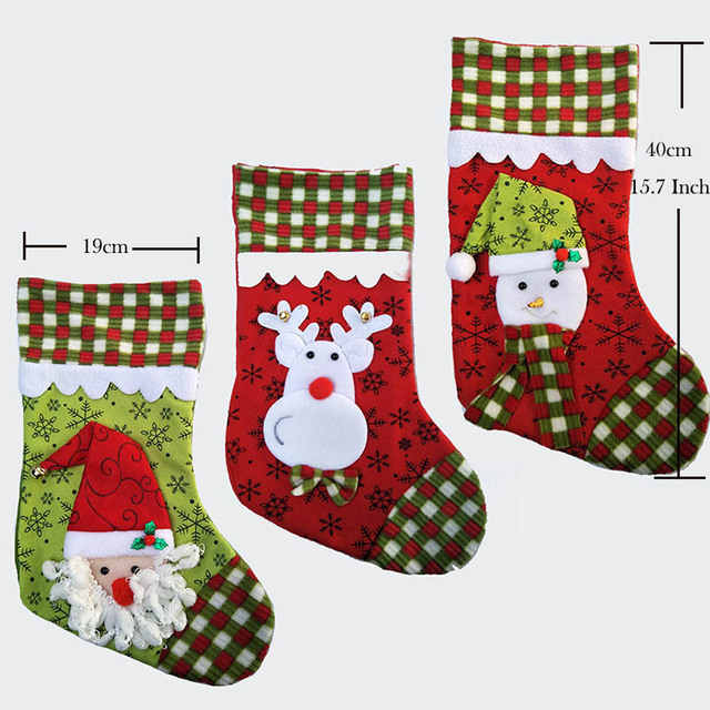 40cm157 inch plush christmas stocking kid xmas stocking children gift bag girls boy candy