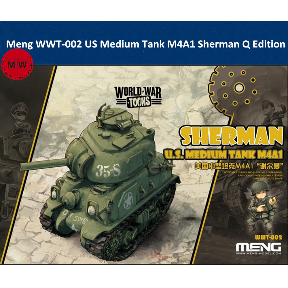Meng WWT-002 US Medium Tank M4A1 Sherman Q Edition Cute Plastic Assembly Model Kit