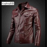 XingDeng Leather Bomber Jackets Men Solid Casual 80s costumes Coat royal albert china Motorcycle Jacket for Male winter Clothing