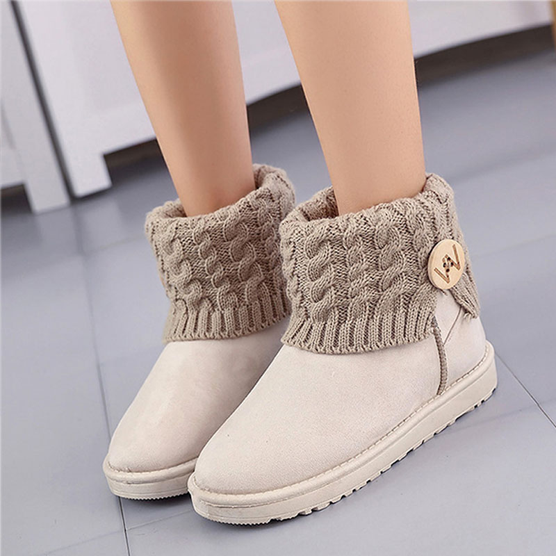 New knitting flat women snow boots Casual black non-slip women winter shoes fashion warm cotton fur female ankle boots DBT1068