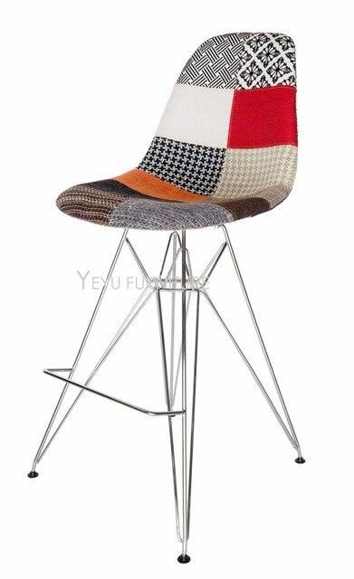 Modern Design Patchwork Fabric Soft Cover Metal Base Bar Chair Bar