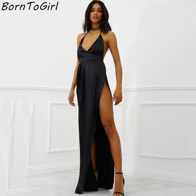 1fc16f66a9 BornToGirl Sexy Halter V-Neck Split Silk Maxi Dress Women Black White Red  Gold Split