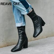 21df42e62c45b6 REAVE CAT hiver bottines bout carré épais talon haut chaussures sans lacet femmes  Botas feminino mujer Pu cuir noir blanc A1324