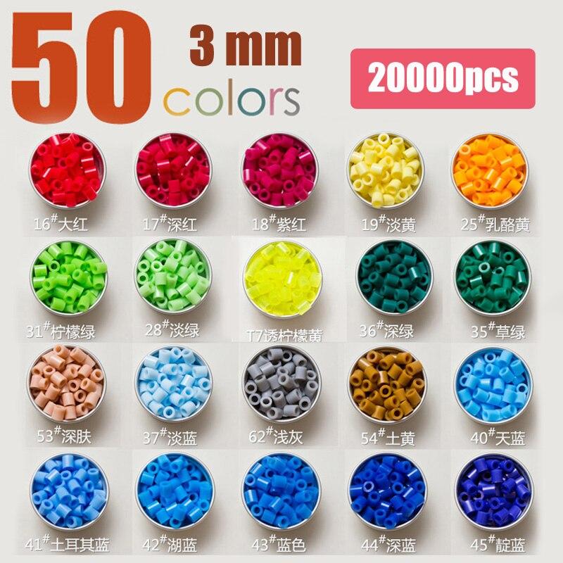 Mini 3mm hama/Perler/fusible/perles de fer 50 couleurs ensemble cadeau pour enfants artisanat cadeau bricolage jouets éducatifs ou bijoux à bricoler soi-même décoration de la maison