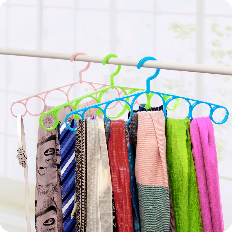 Multifunctional Plastic Silk Tie Rack Shelf Clothes Hanger Multi Circle Hanger Clothes Support Clothes Drying Clothes Rack