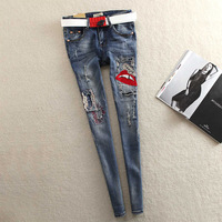 Europe Station Personalized Red Lips Elastic Cattle Slim Thin Pencil Pants Jeans