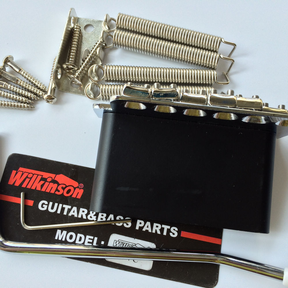Купить с кэшбэком Wilkinson ST electric guitar Tremolo System Bridge + Bent Steel Saddles  WV6 Chrome Silver Gold