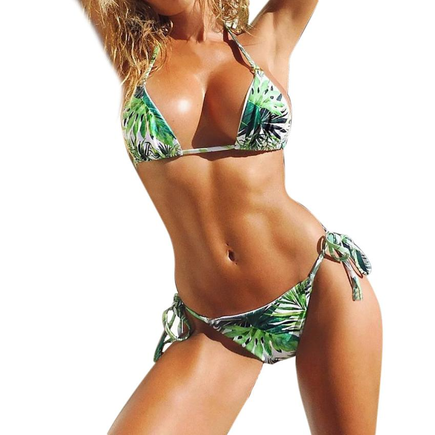 Women Swimwear Summer Beach Casual Fresh Green Print Halter Two Pieces Bikini Bra Swimsuit Sexy Bathing Tops for Party 18May11