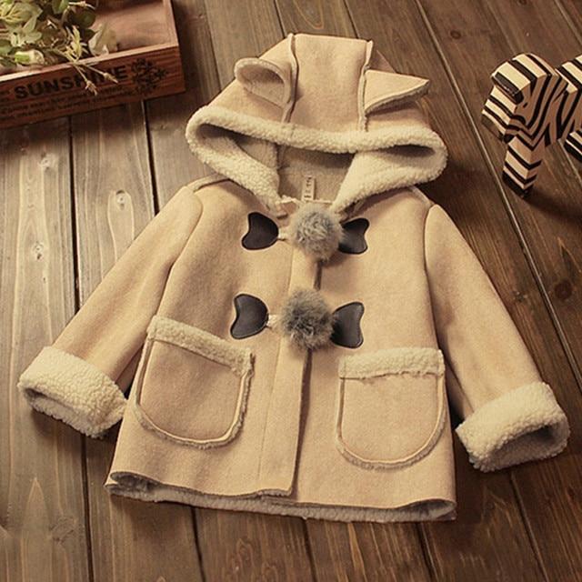2017 new winter coat cute cartoon lamb velvet suede solid kids girls windbreaker thicken woolen casual kids girls clothing hc001