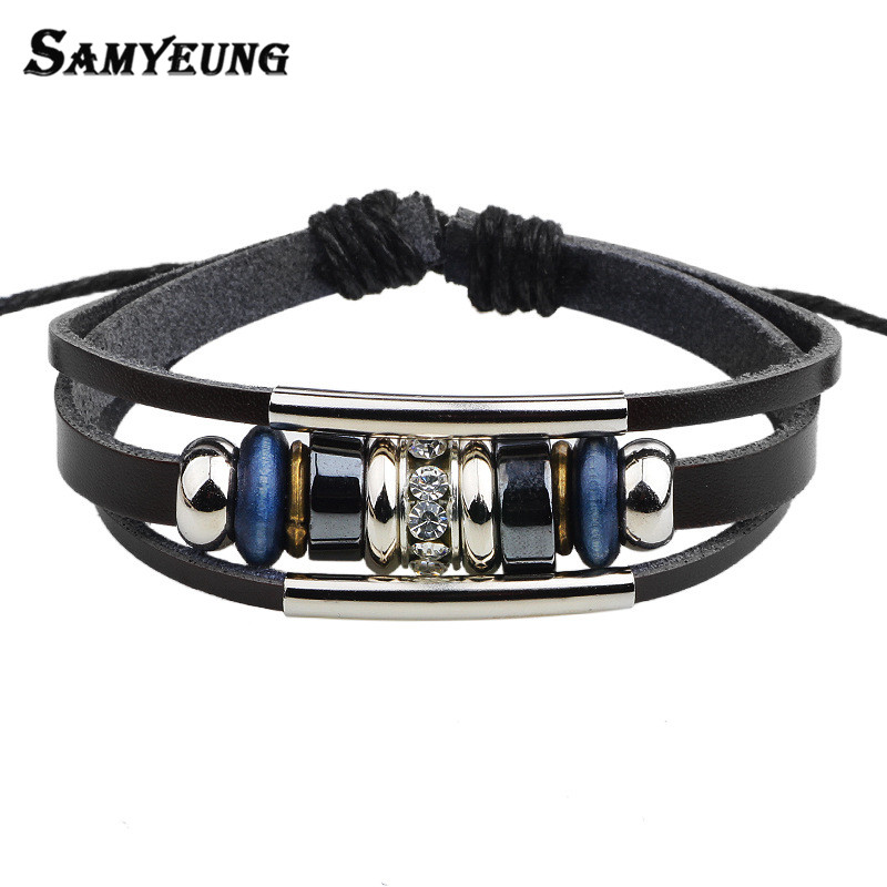 Samyeung Charm Leather Beads Bracelets for Women Wristband Mens Crystal Bracelet 2017 Braslet Femme Pulseras Mujer Male Jewelry