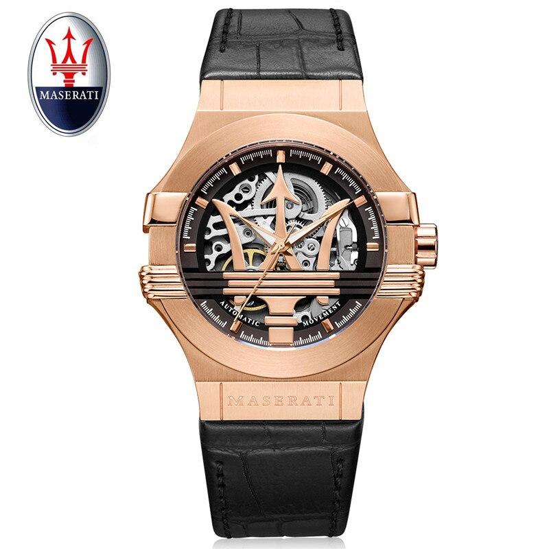 Top marque Maserati de luxe automatique mécanique montre coquille d'or montre en cuir militaire montre horloge hommes